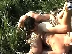 Twinks mouth to mouth and fucking on grass
