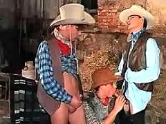 Teen cowboys play oral stimulation