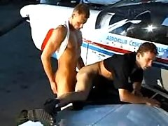 Horny pilots fuck on wing of plane