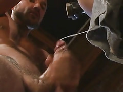 Mature gay guy cums after fist insertion