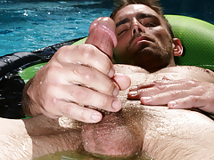 Joe Parker showers, swims and jerks his manhood in the pool