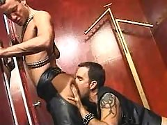 Leather dick-holders fuck brains out and jizzing on mirror