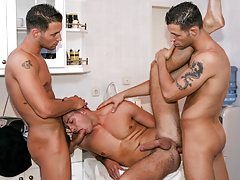Security guard twins Alex & Ian fuck cute sub stud sub Buck