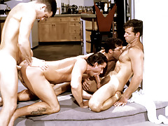 These four randy studs plow each other into a bawdy frenzy.