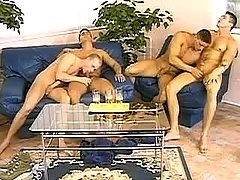 Two faggot couples suck weenies on bed
