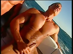 Two guys fucking and sucking on a boat in 6 video