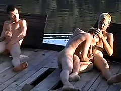 Village twinks swallowing by the river