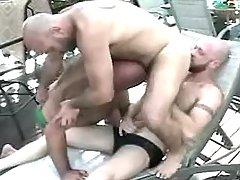 Three ripe man-lovers have fun by pool