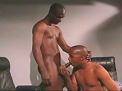 Black faggot slut serving horny hunk