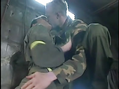 Horny gay homosexual guys kiss in cellar