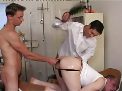 Dirty homosexuals spank and dildofuck men wazoo