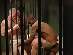 Dark homosexuals fuck white prisoners in all holes