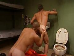 Poor prisoner licks curly rectal opening