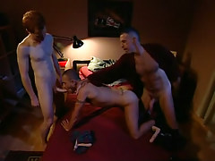 Lusty daddy and boyish sub share poor chap