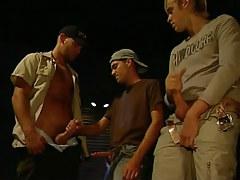 Gay policeman masturbates with homosexuals
