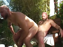 Hairy man-lover jumps on raw weenie outdoor