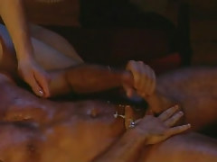 Hairy gay stud jizzes exactly after anal