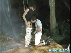 Latin man-lover twinks engulf in dark forest