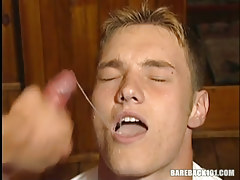 Hot gay guy boi swallows hot goo