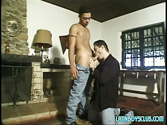 Lusty parent sucks innocent latin man