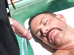 Mature hairy fruit relaxes by pool