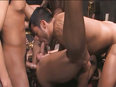 Hairy oriental gays take in and fuck in gangbang