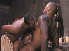 Black tattooed gay guy sucked by Japanese dudes in group