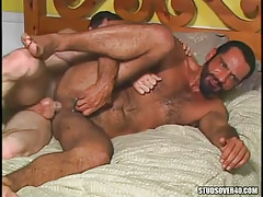 Bear gay gains real anal fuck in bed