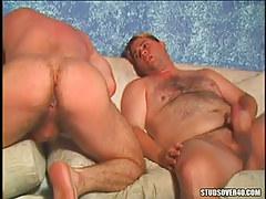 Hairy gay guys jerk off and swell intense bottom cheeks