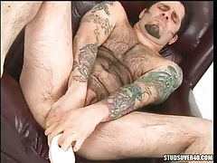Hairy gay deep forces colossal toy in asshole