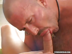 Hairy calm twink sucks fresh champs penis