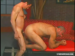 Bear dilf tough makes love silver parent in doggy style