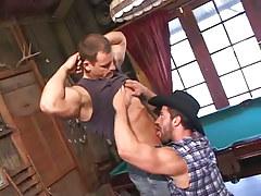 Bear gay seduces muscle friend