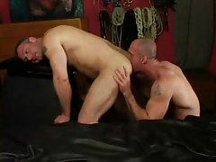 Horny dilf licks muscled dudes ass