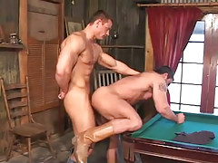 Hot muscle gays massive fuck on billiard table