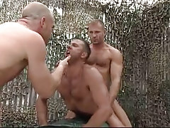 Hairy man-lovers share adolescent man in nature