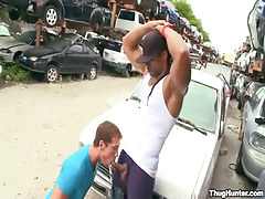 Black gay sucked by white boy-friend outdoor