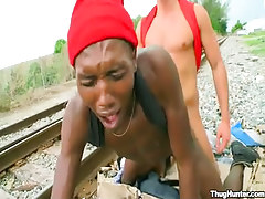 Ebony gay boi gets anal fuck behind on railyard