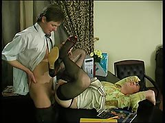 Spiteful gay womanlike in lacy ebony  getting large hard-on up his booty