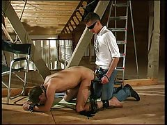 Kinky champs take part in Pain game at the attic with a slave-guy arse and mouth owned