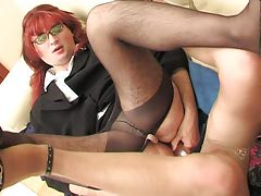 Redhead sissy chap with his man-lover co-worker getting the exclusively about all from dildotoying